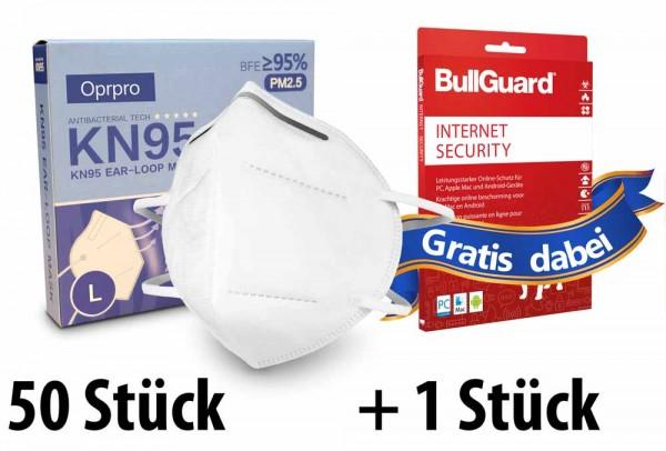 Mundschutzmasken KN95 Masken 50 Stück - Oprpro + GRATIS BullGuard Internet Security 3 User