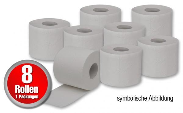 8 Rollen Toilettenpapier - 250 Blatt pro Rolle 2-lagig in naturweis / grau