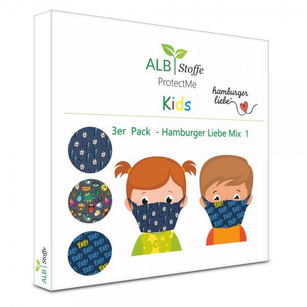 Kinder Mund- & Nasenmaske - ProtectMe Kids Hamburger Liebe Mix - 3 Stück