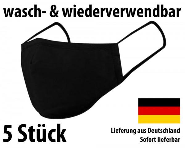 Waschbare Mehrweg Stoffmaske - Nasen- und Mundschutz - schwarz - 5 Stück