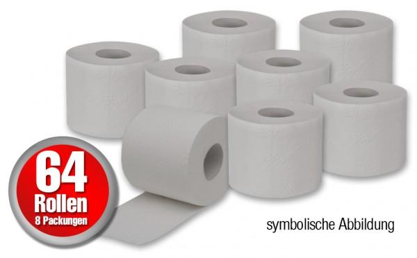 64 Rollen Toilettenpapier - 250 Blatt pro Rolle 2-lagig in naturweis / grau