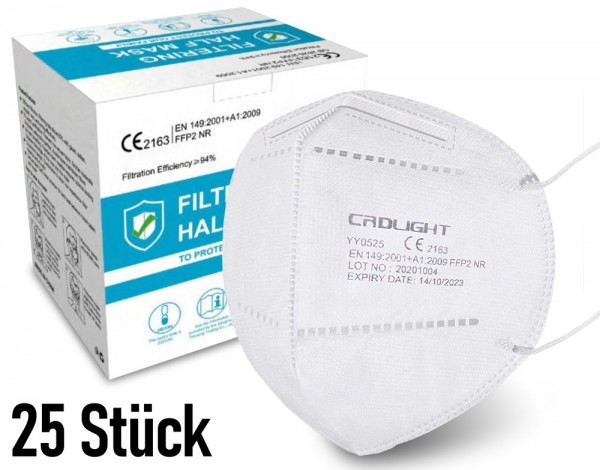 25 Stück FFP2 Atemschutz Masken 5-lagig mit CE-Zulassung - CRDLIGHT