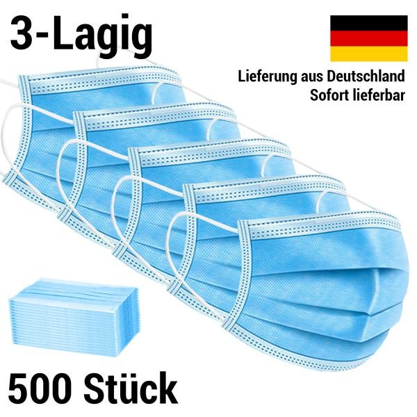 Maske 3-lagig Mundschutz Mund-Nasen-Schutz - 500 Stück (10 Packungen)