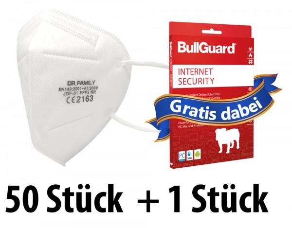 50 Stück FFP2 Atemschutz Masken 5-lagig mit CE-Zulassung + GRATIS BullGuard Internet Security 3 User