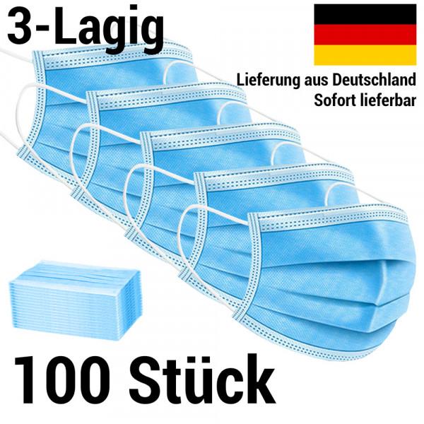 Maske 3-lagig Mundschutz Mund-Nasen-Schutz - 100 Stück (2 Packungen)