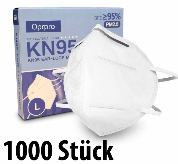 Mundschutzmasken KN95 Masken 1000 Stück - anpassbaren Nasenbügel - Oprpro - (in 10er Packs)