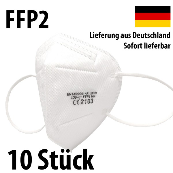 10 Stück FFP2 Atemschutz Masken 5-lagig mit CE-Zulassung
