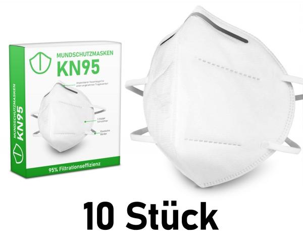 Mundschutzmasken KN95 Masken 10 Stück - anpassbaren Nasenbügel - (in 10er Packs)