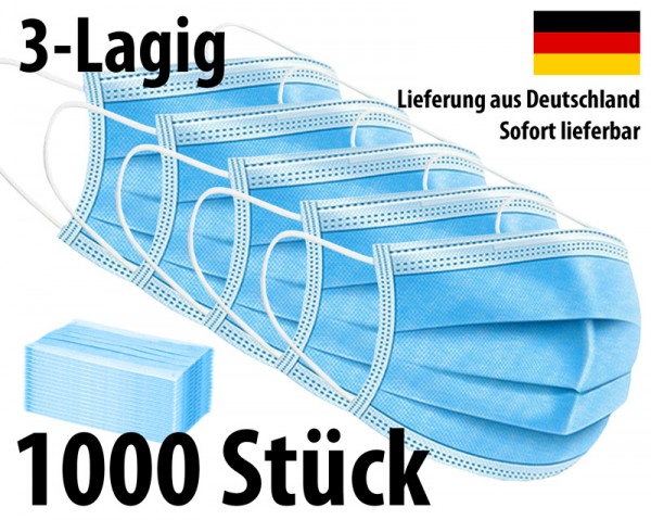Maske 3-lagig Mundschutz Mund-Nasen-Schutz - 1000 Stück (20 Packungen)