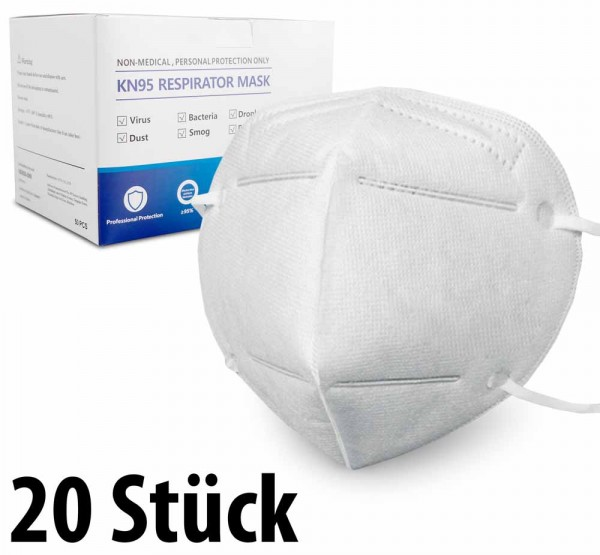 Mundschutzmasken KN95 Masken 20 Stück - anpassbaren Nasenbügel - CTT.CO Ltd - (in 10er Packs)